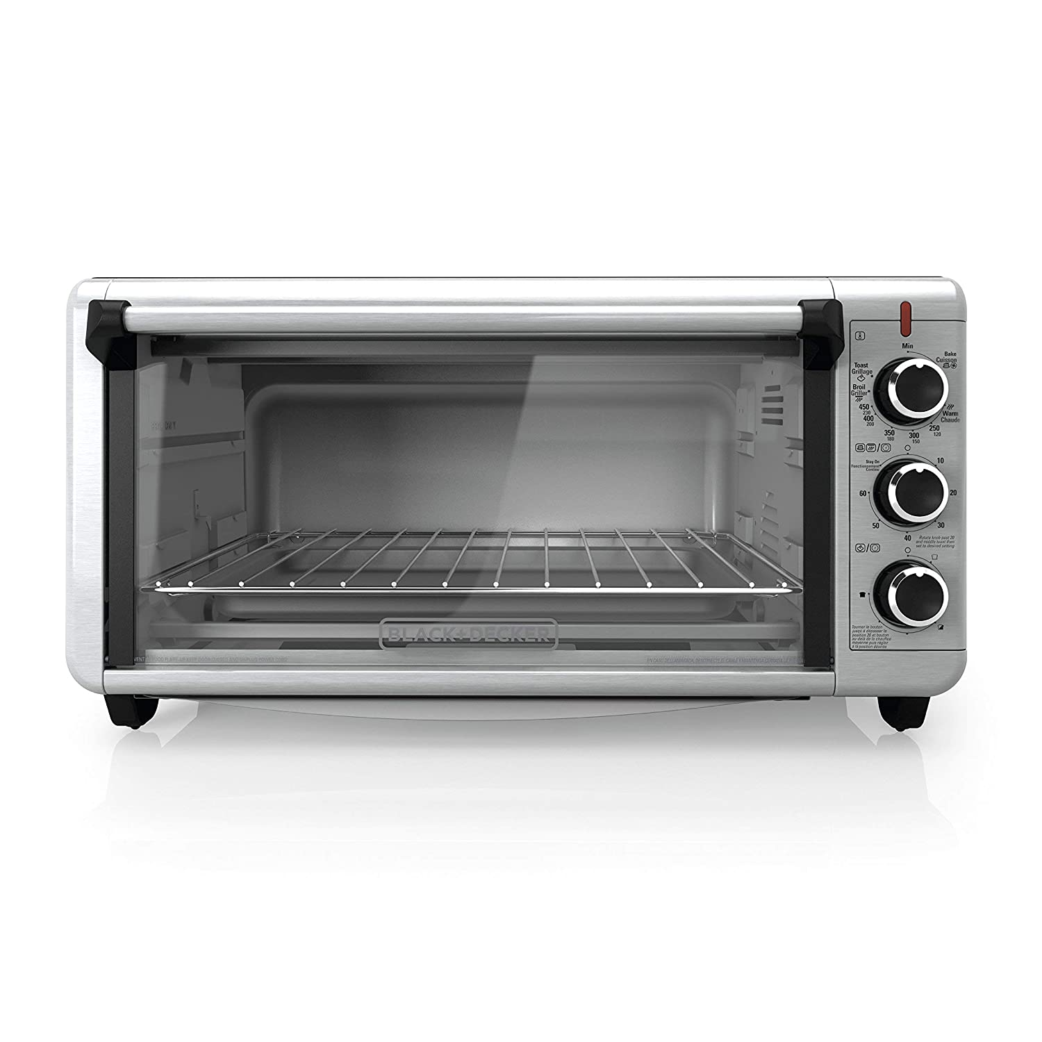 BLACK+DECKER TO3240XSBD 8-Slice Extra Wide Convection Countertop Toaster Oven, Includes Bake Pan, Broil Rack & Toasting Rack, Stainless Steel/Black Convection Toaster Oven (Certified Refurbished)