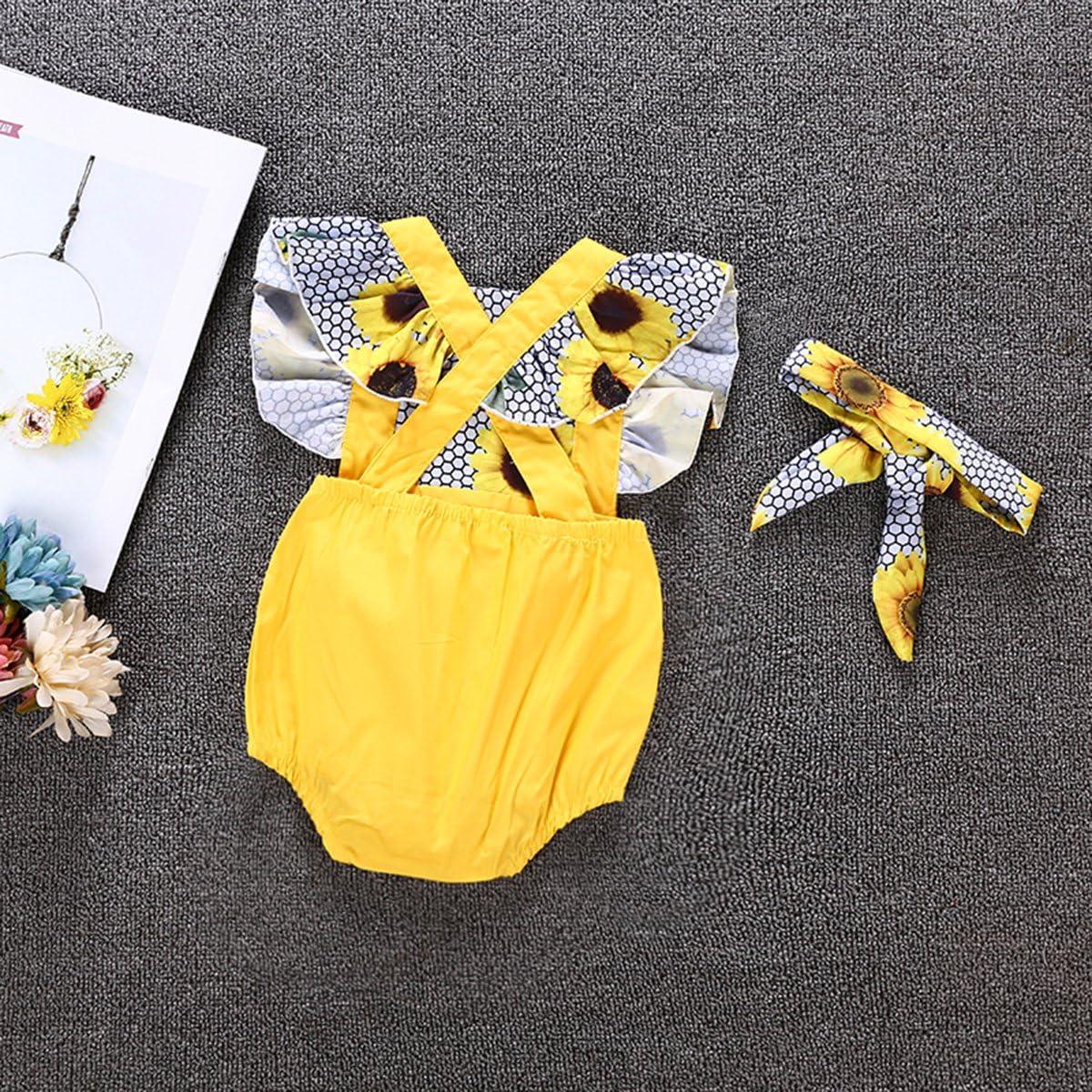 Tianhaik Beb/é Ni/ña Mameluco de Flores de Verano con Volantes de Manga Impresa Mono Mono Trajes de 0-18 Meses