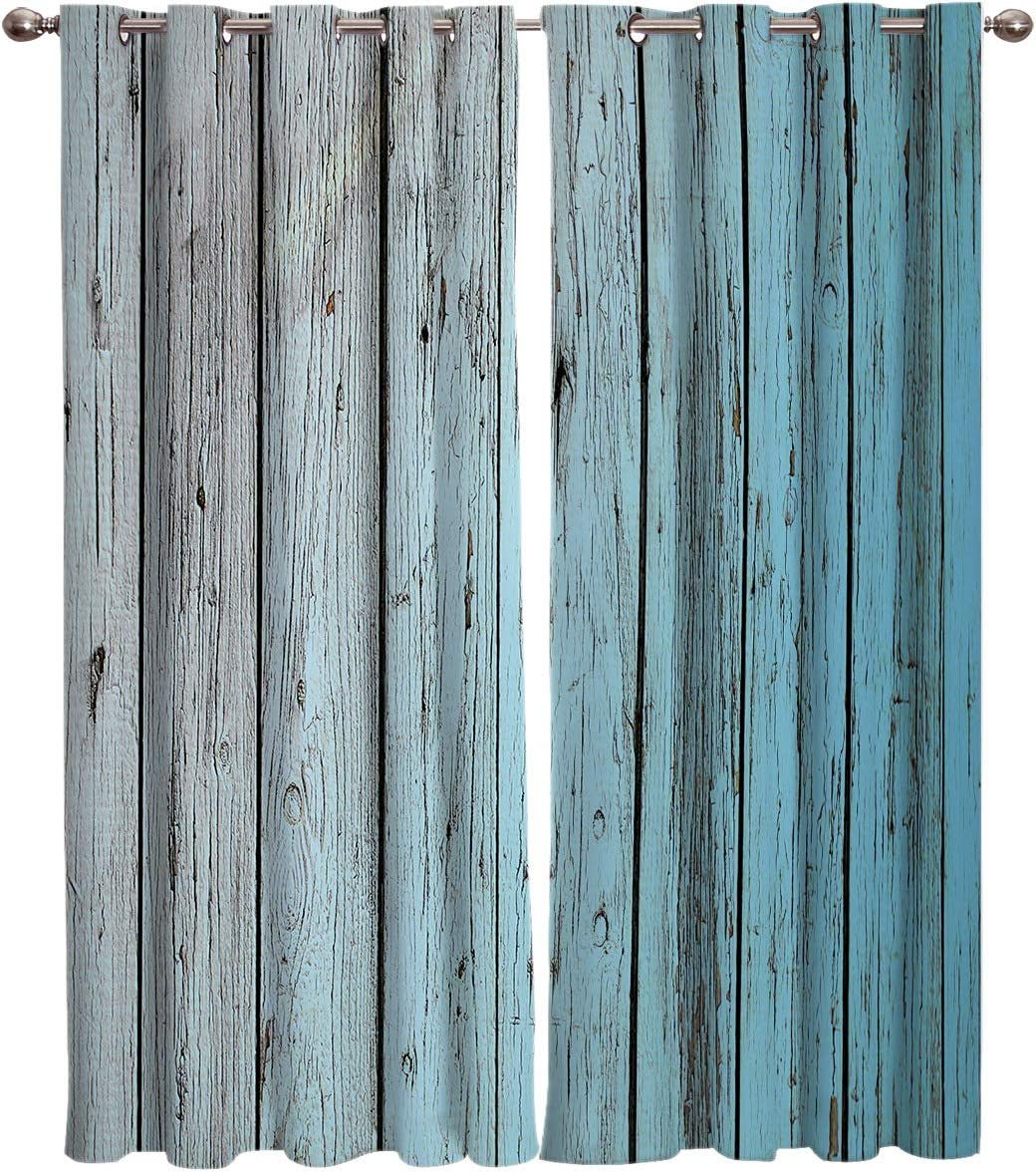 Printed House Vintage Old Barn Planks Home Decor Window Curtains - Window Treatment Set with Silver Grommet   Window Covering for Kitchen Cafe Living Room (2 Panel Drapes, 55