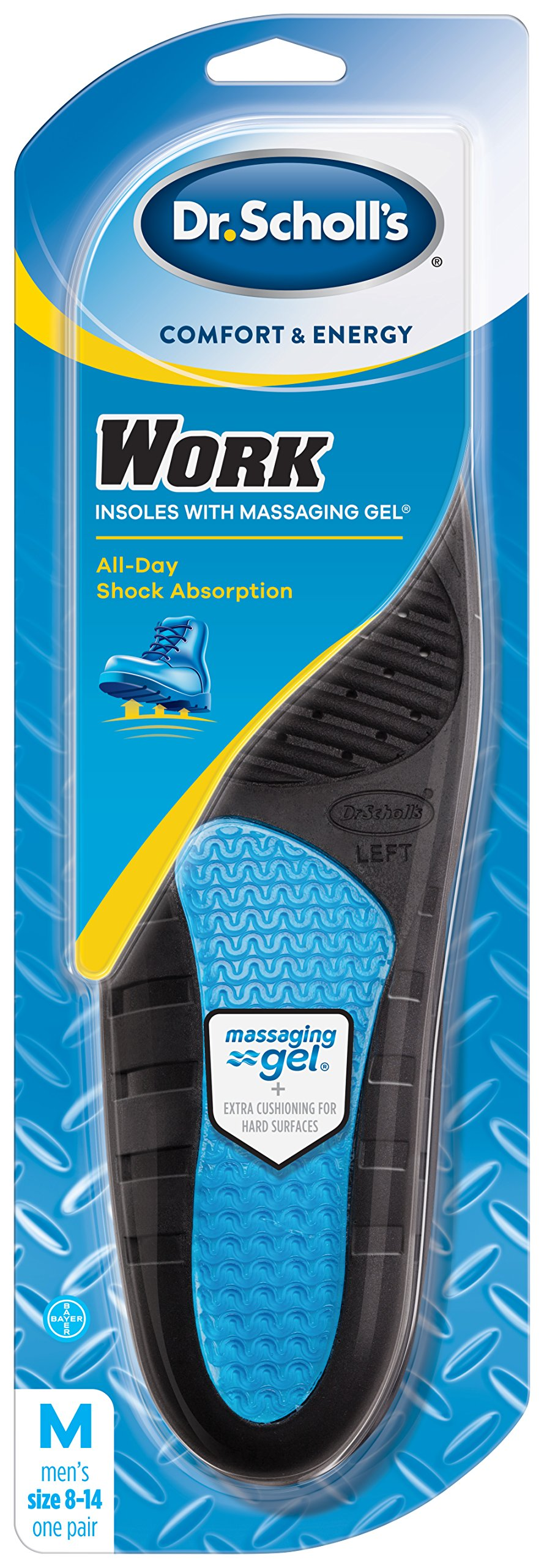 Dr. Scholl's Comfort and Energy Work Insoles for Men, 1 Pair, Size 8-14
