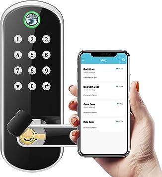 cerradura de puerta de entrada con teclado biom/étrico de huellas dactilares Cerradura de manija inteligente manija de puerta delantera segura con desbloqueo de llave de aplicaci/ón Bluetooth