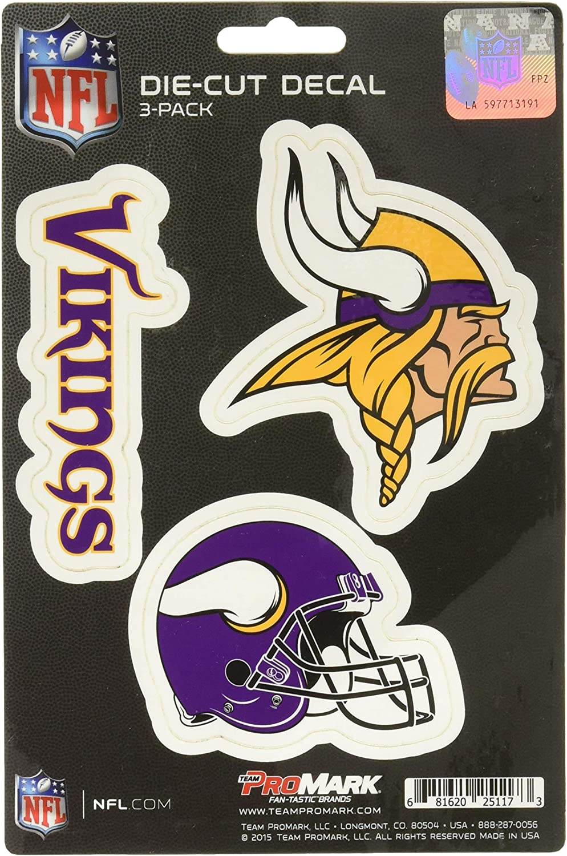 NFL Minnesota Vikings Team Decal, 3-Pack