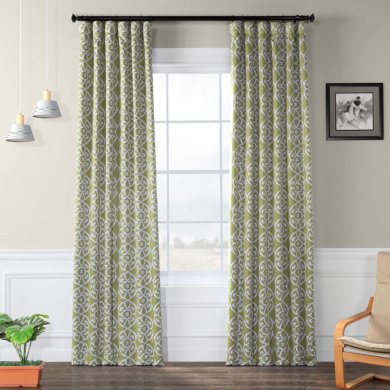 HPD Half Price Drapes BOCH-KC160710-108 Secret Blackout Room Darkening Curtain (1 Panel), 50 X 108, Secrect Garden Leaf Green