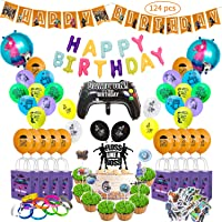 124 PCS Video Game Party Supplies Includes Cake and Cupcake Topper, Latex Balloons, Foil Balloons, Bracelets, Gift Bags, Stickers, Happy Birthday Banner Perfect Gamer Decorations Favors for Kids.