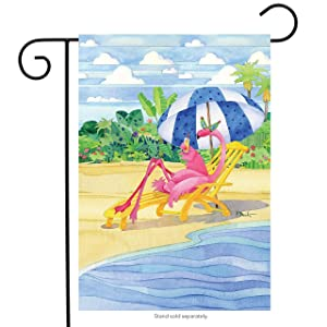 "Briarwood Lane Flamingo Inn Summer Garden Flag Beach Scene Humor Cocktails 12.5"" x 18"""