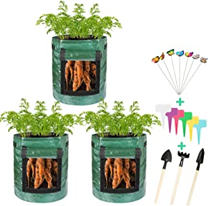 Thten 3 Pack Potato Grow Bags, Plant Grow Bags 7 Gallon Heavy Duty Thickened Growing Bags Planting Pots Container Garden Vegetable Planter with Handles & Large Harvest Window
