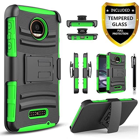 premium selection 3fcb0 2c965 Moto Z Force Case, Combo Shell Cover Kickstand with Built-in Holster  Locking Belt Clip+Circle(TM)Touch Screen Pen And Screen Protector- (Green)
