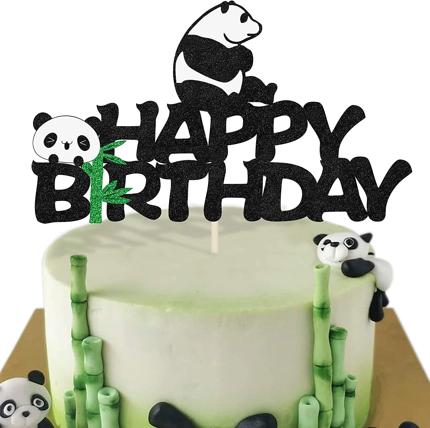 Adorable Panda Cake Topper Double Sided Glitter Happy Birthday Party Decoration Baby Shower Party Decor Supplies (1PCS Panda cake topper)