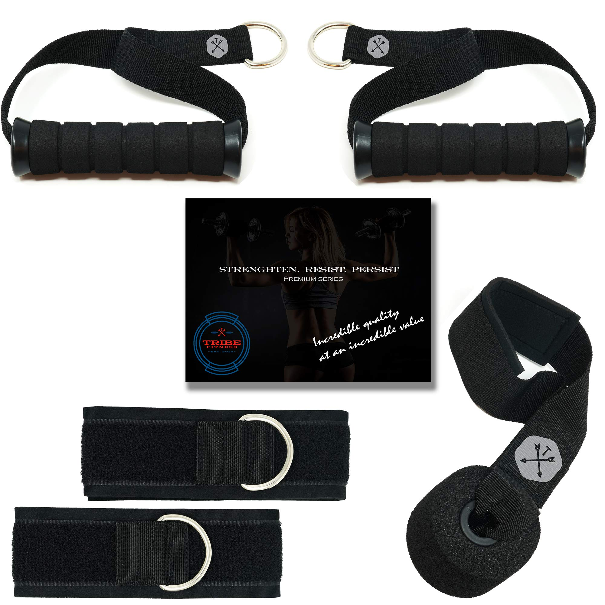 Tribe Premium Resistance Bands Accessories Set - for use with Exercise Bands, Includes 2 Handles, 2 Ankle Straps, 1 Door Anchor & Advanced eBook