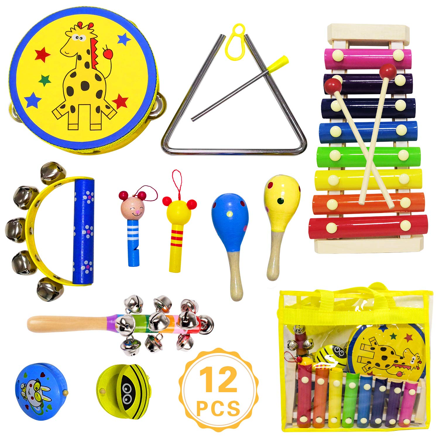 ToyerBee Musical Instruments Toys Set for Kids, 15PCS Wooden Percussion Instruments for Toddlers, Preschool& Educational Toy with StorageBag, Tambourine, Maracas, Castanets& More for Boys and Girls. by ToyerBee