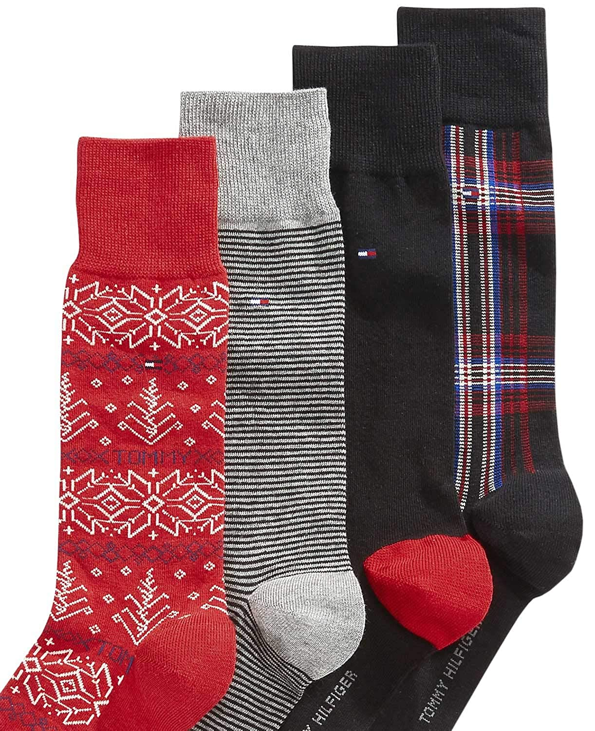 fce3b1e999af Tommy Hilfiger Holiday Fair Isle Socks 4-Pack, Variety Pack at Amazon Men's  Clothing store: