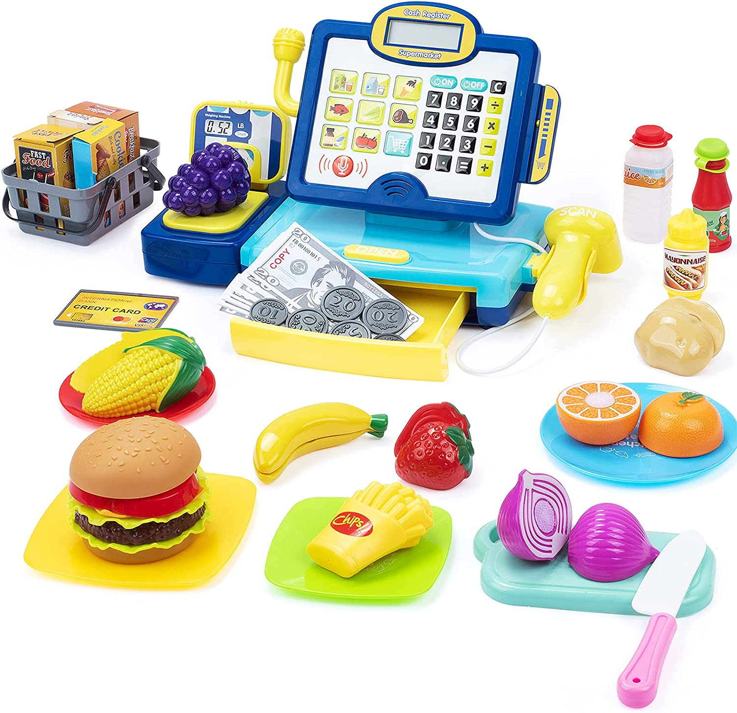 SUPERHIGH Kids Cash Register Toy with Cuttable Food, Scaner, Microphone, Play Money, Calculator Cash Register for Toddler, Great Grocery Pre-School Gift for Boys & Girls, Ages 3 4 5 6 7 8, Blue