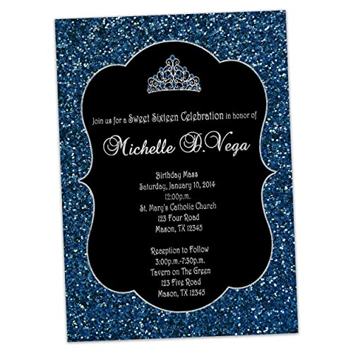 amazon com navy glitter silver sweet 16 invitations tiara princess
