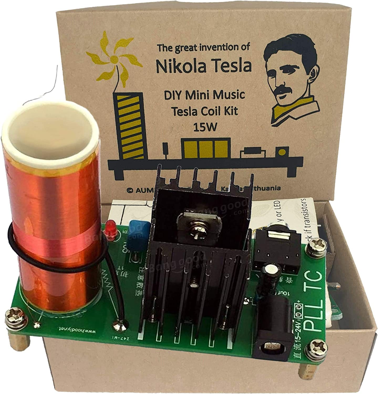AUMED DIY Mini Music Tesla Coil Kit Vintage ECO Edition 15W