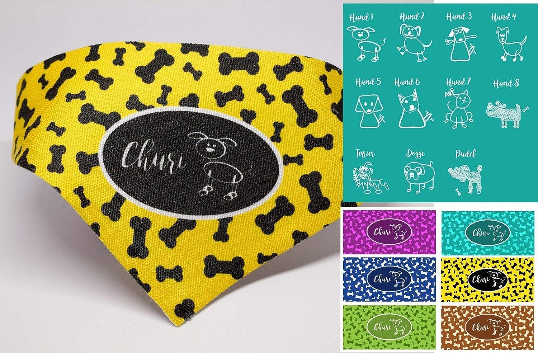 Hundehalstuch mit Namen für kleine Hunde - große Hunde personalisiertes Motiv in gelb lila türkis braun grün blau