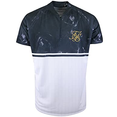 d5f51b88 SikSilk Sik Silk - Marble Baseball Tee, Navy/White: Amazon.co.uk ...
