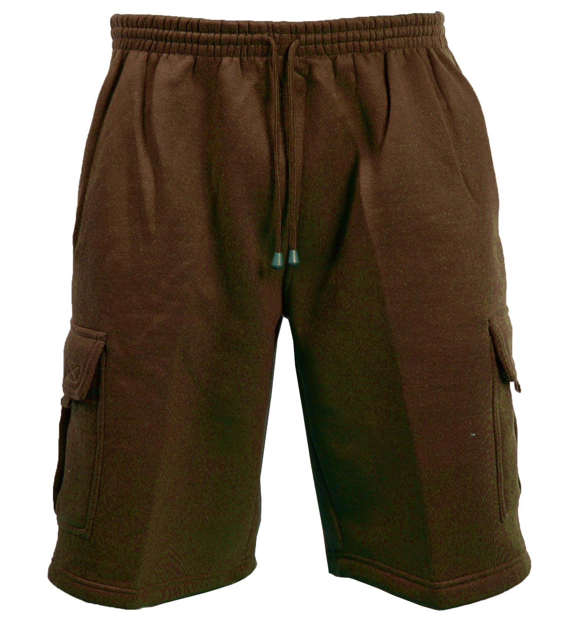 Guytalk Men's Solid Fleece Cargo Sweat Shorts Large Brown