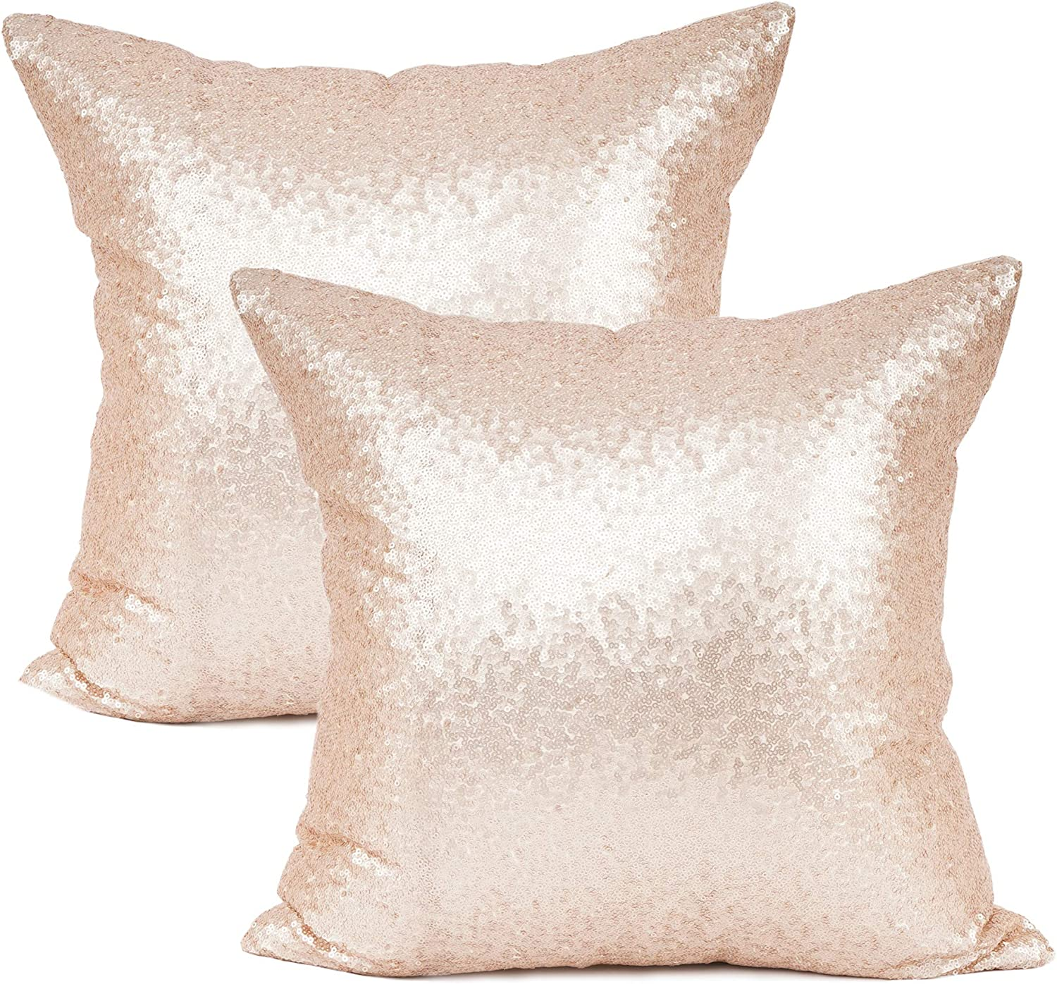 """YOUR SMILE Pack of 2, New Luxury Series Rose Gold Decorative Glitzy Sequin & Comfy Satin Solid Throw Pillow Cover Cushion Case 18"""" x 18"""" (143)"""