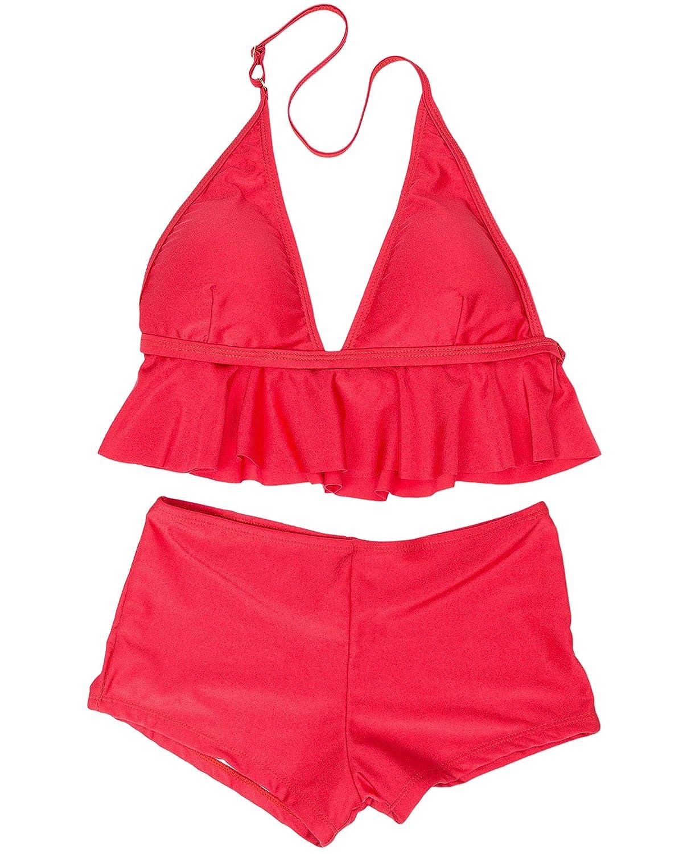 Wantdo Women's Tankini Scoop Neck Swimsuit Two Piece