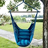 Toucan Outdoor Hammock Chair with Pillow Set, Blue Stripe