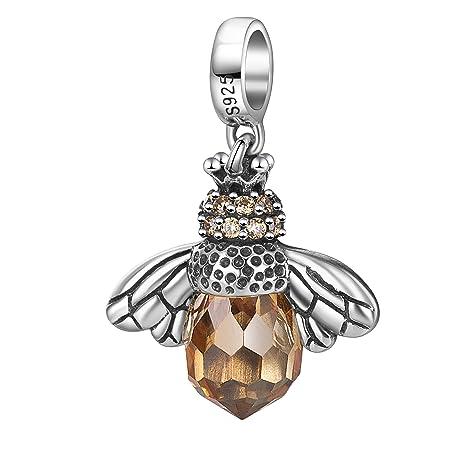 1e1ab217e Amazon.com: Hoobeads 925 Sterling Silver Dangling Orange Crystal ...