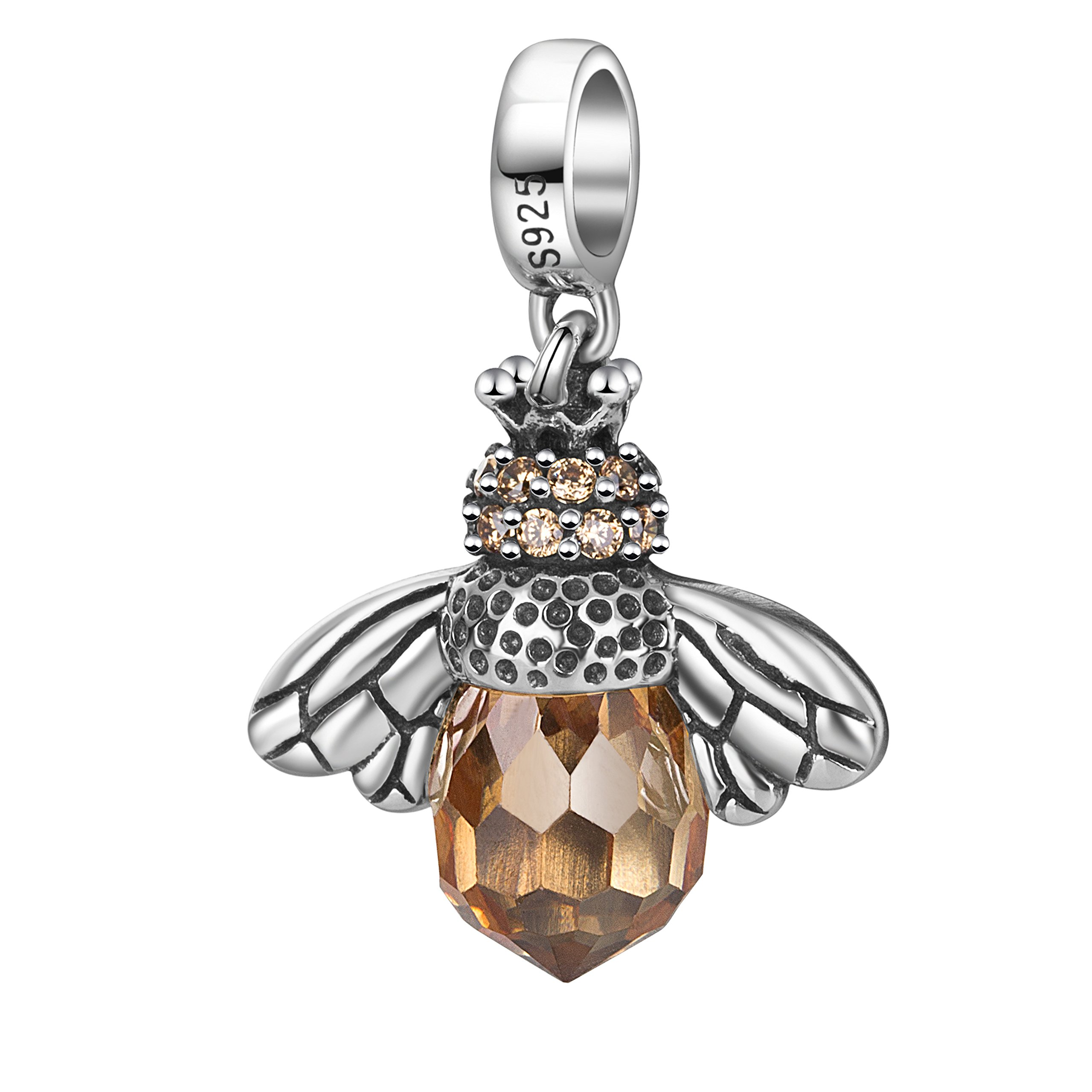 Bee Charms with CZ Stone 925 Sterling Silver Dangle Insect Animal Charm for Bracelet (Silver)