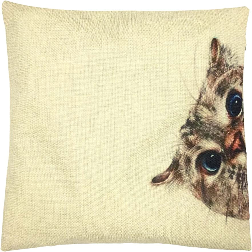Linen Cotton Natural Rustic Black Siamese Cat Kitten Cushion Cover Gift Home