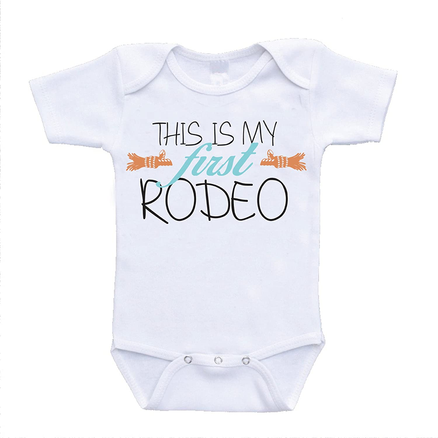 48940629b Amazon.com : This Is My First Rodeo funny baby onesies cute rompers one  piece bodysuits cheap affordable infant clothing (6-9 Months) (newborn(0-3  Months)) ...