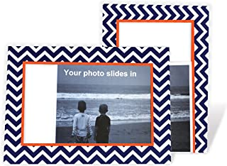 product image for Chevron (Navy & Orange) 4x6 Photo Insert Note Cards - 24 Pack by Plymouth Cards