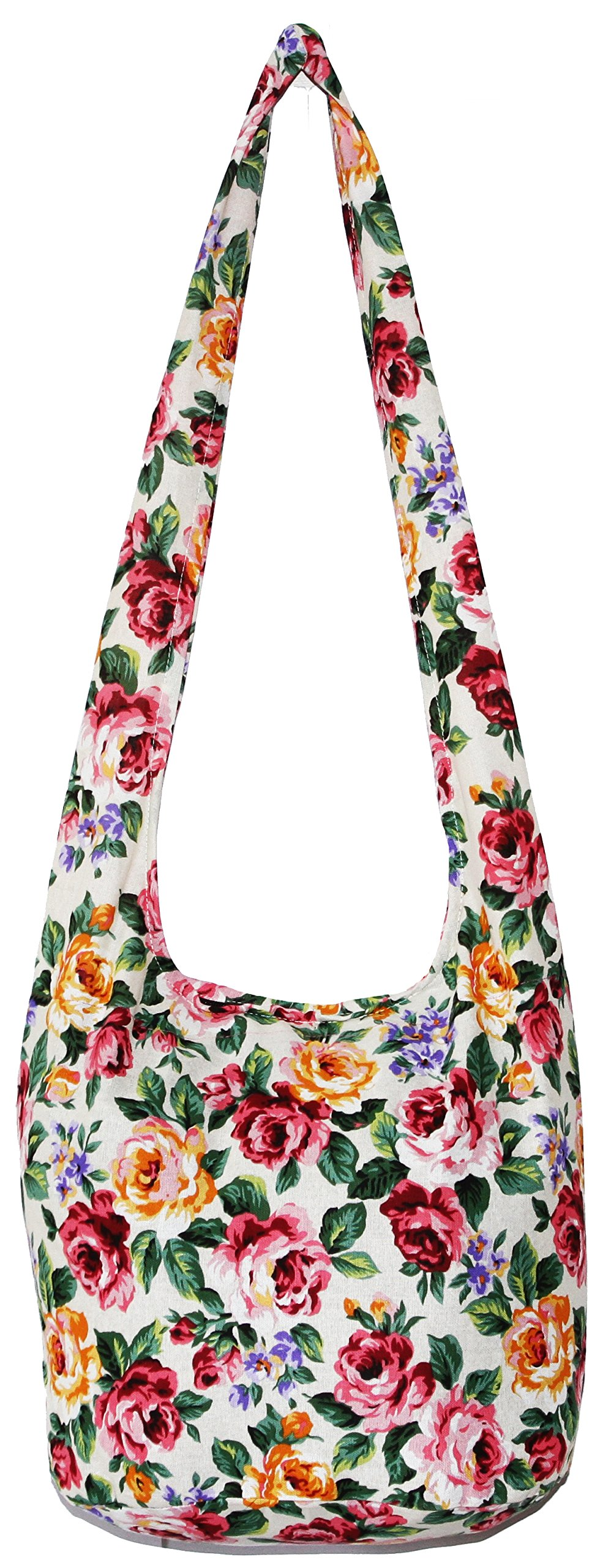 Rose Bohemian Hobo Boho Hippie Hipster Crossbody Bag Purse 35 Inch (CreamPinkRose)
