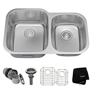 kraus kbu24 32 inch undermount 60 40 double bowl 16 gauge stainless steel kitchen sink kraus kbu24 32 inch undermount 60 40 double bowl 16 gauge      rh   amazon com