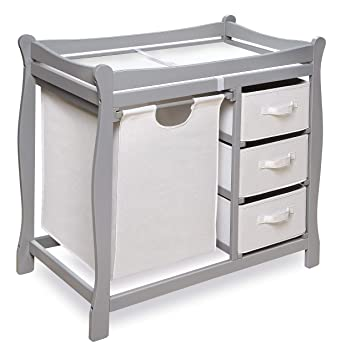 Badger Basket Modern Changing Table with 3 Baskets and Hamper White