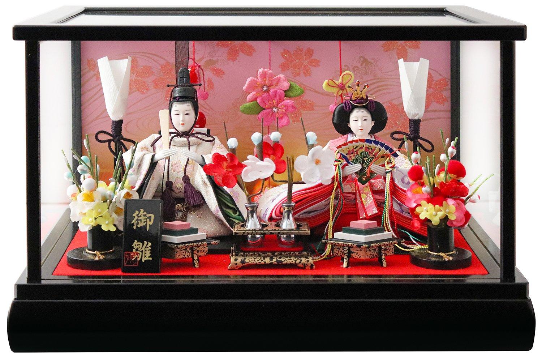 雛人形 ケース入り親王飾り 吊るし付き 間口39.5×奥行27.5×高さ25cm 黒塗枠ガラスケース 30-056AP   B0797GVMYL