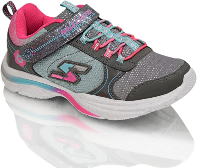Skechers Kids Girls Game Kicks Comfortable Hook And Loop Light Up Trainers Shoes Amazon Co Uk Shoes Bags