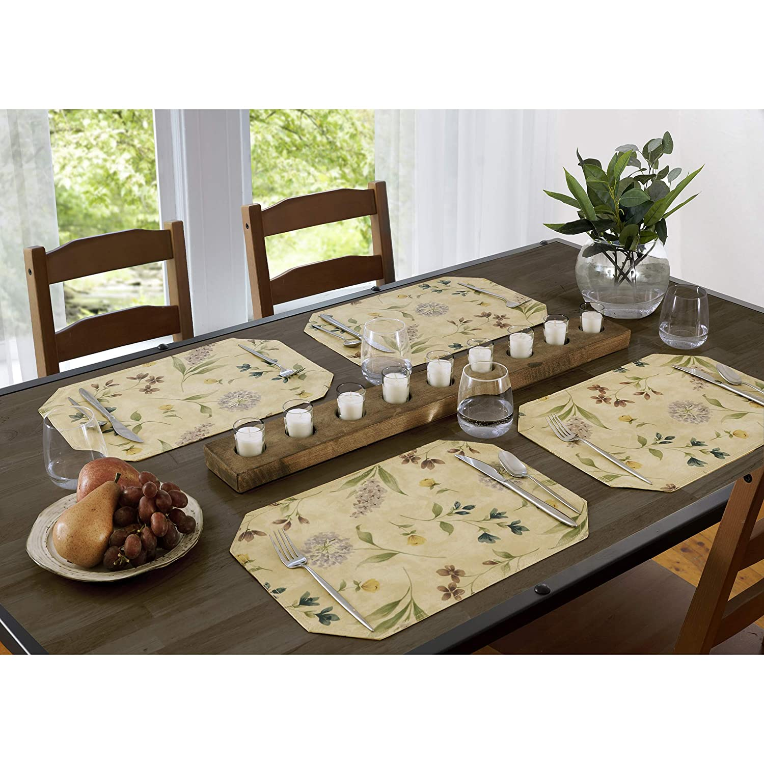 11.75-Inch by 18-Inch Placemats Set of 4 EVERYDAY LUXURIES Botanical Toss Flannel Backed Indoor Outdoor Vinyl Table Linens
