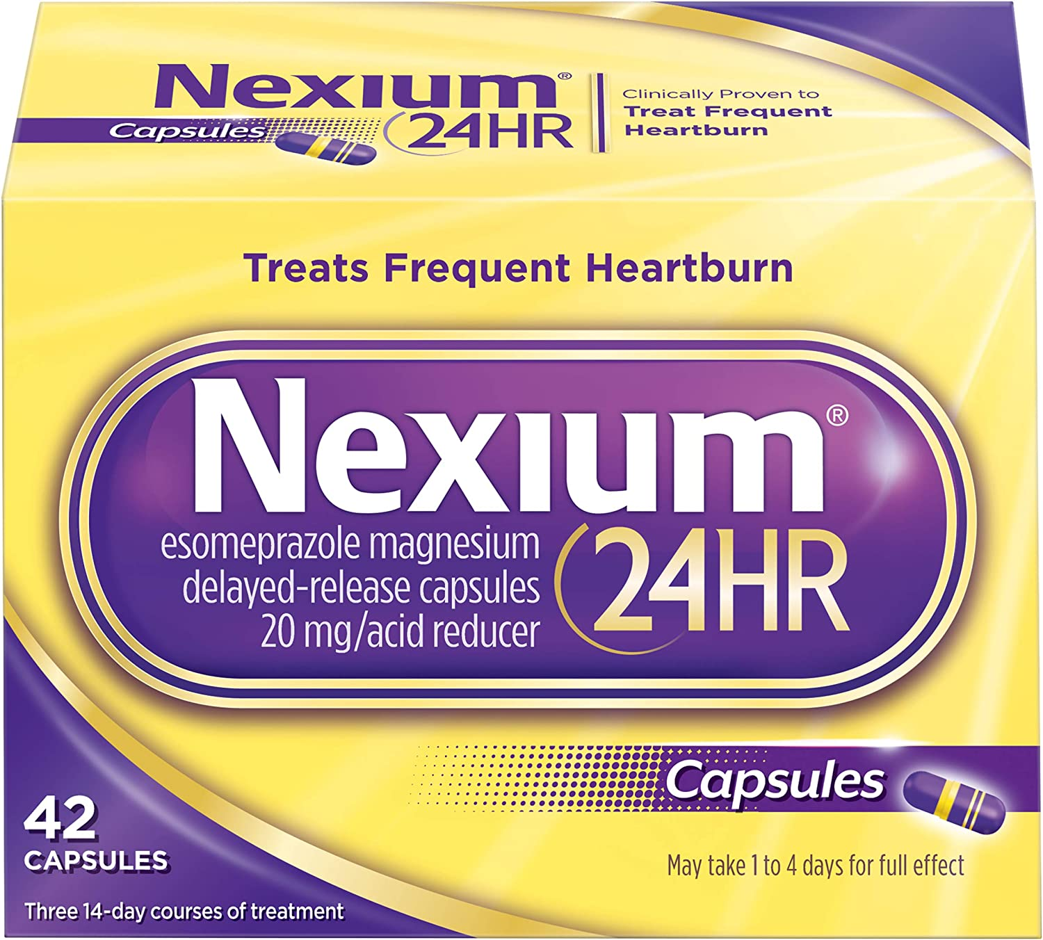 Nexium 24HR (42 Count, Capsules) All-Day, All-Night Protection from Frequent Heartburn Medicine with Esomeprazole Magnesium 20mg Acid Reducer: Health & Personal Care