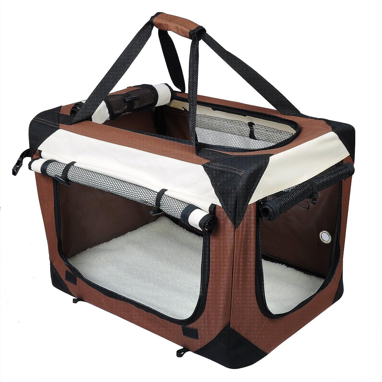 EUGAD 0143HT Gabbiette per Auto Trasportino per Viaggio in Oxford per Cani Gatti Gabbia Cuccia Pieghevole Portatile Grigio