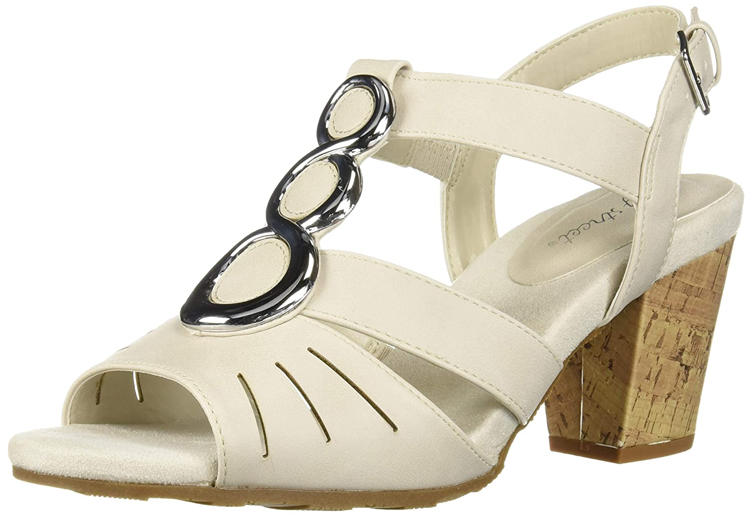 Retro Vintage Style Wide Shoes Easy Street Womens Casey Dress Casual Sandal Heeled $41.79 AT vintagedancer.com