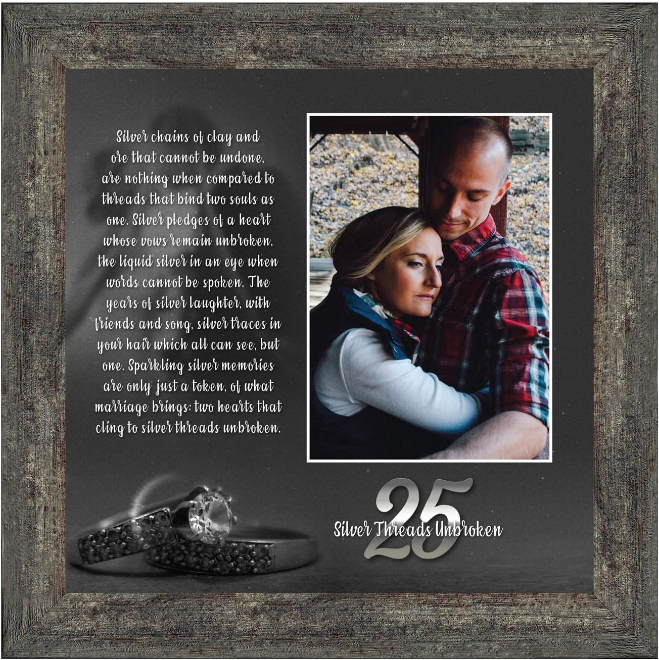 Crossroads Home Décor 25th Wedding for Couples, 25th for Husband or Wife, Silver 25th Anniversary Card, 25th Anniversary Table Decorations, A Couples Silver Anniversary, 6303BW
