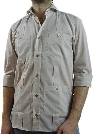Camisa Guayabera Caballero Beige Mil Rayas (M): Amazon.es: Ropa y accesorios