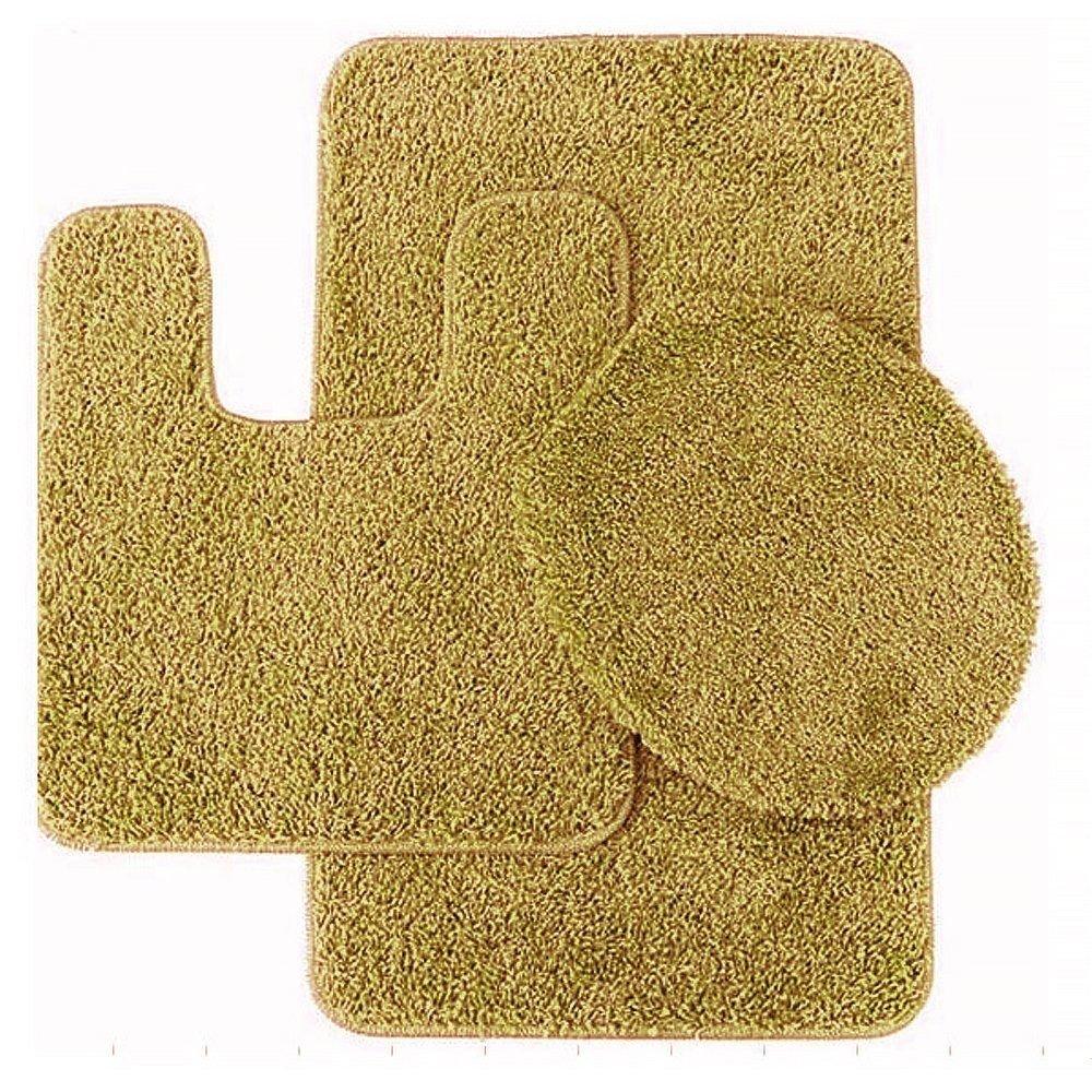 GorgeousHomeLinen 3-Piece Gold #6 Bathroom Set Bath Mat, Contour, and Toilet Lid Cover, with Rubber Backing