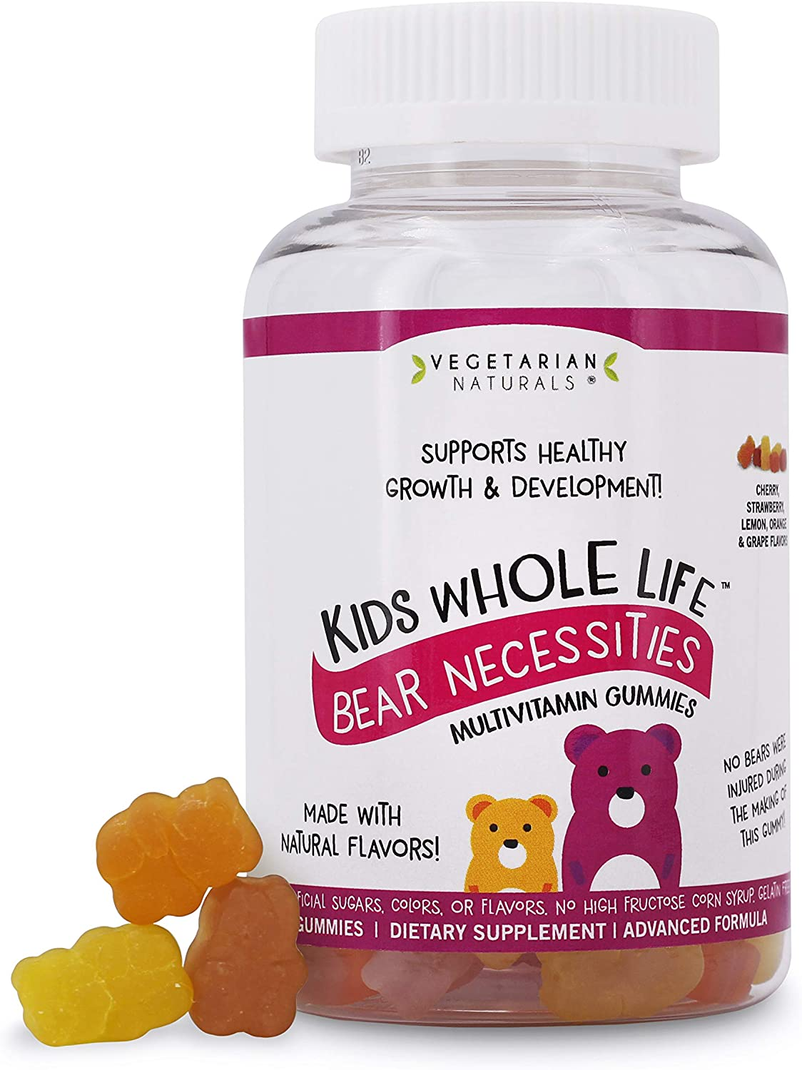 Vegetarian Naturals® Kids Whole Life™ Bear Necessities Multivitamin Gummies Free from Artificial Sugars, Colors & Flavors or High- Fructose Corn Syrup!