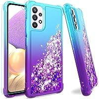 Funda para Samsung A32 4G, Galaxy A32 4G con protector de pantalla HD, M MAIKEZI degradado arena movediza con purpurina…