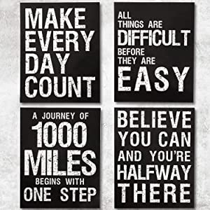 4 Pieces 8 x 10 Inch Inspirational Quotes Wall Art Posters Motivational Positive Saying Wall Print Unframed Art Posters Decoration for Office, Gym, Classroom, School, Living Room