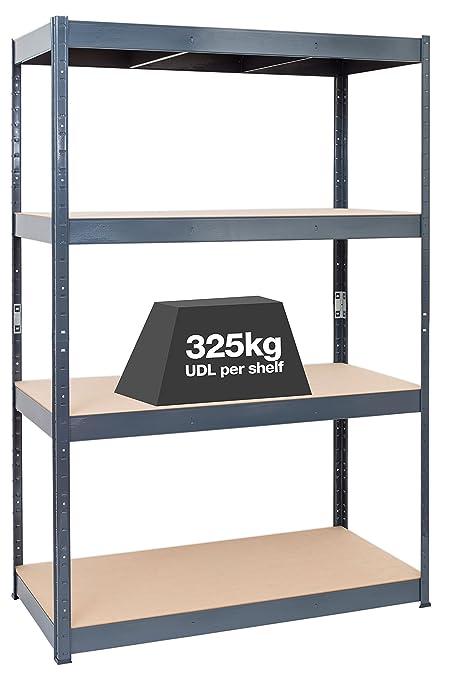 pretty nice 3d832 2b35f STORALEX® Extra Wide & Heavy Duty Garage Racking Unit - 30cm/45cm/60cm Deep  - 4 Tier Garage Storage Shelves - 325kg per Shelf (Evenly Distributed) ...