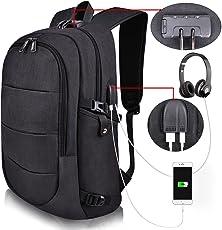 Mochila para laptop moderna, con candado de seguridad, entrada usb para carga de celular, y puerto de audifonos - Material a prueba de agua, ideal para laptops de hasta 17 pulgadas (Negra)