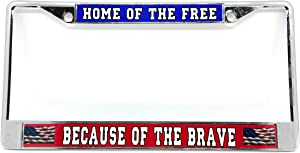 Home of The Free Chrome License Plate Frame