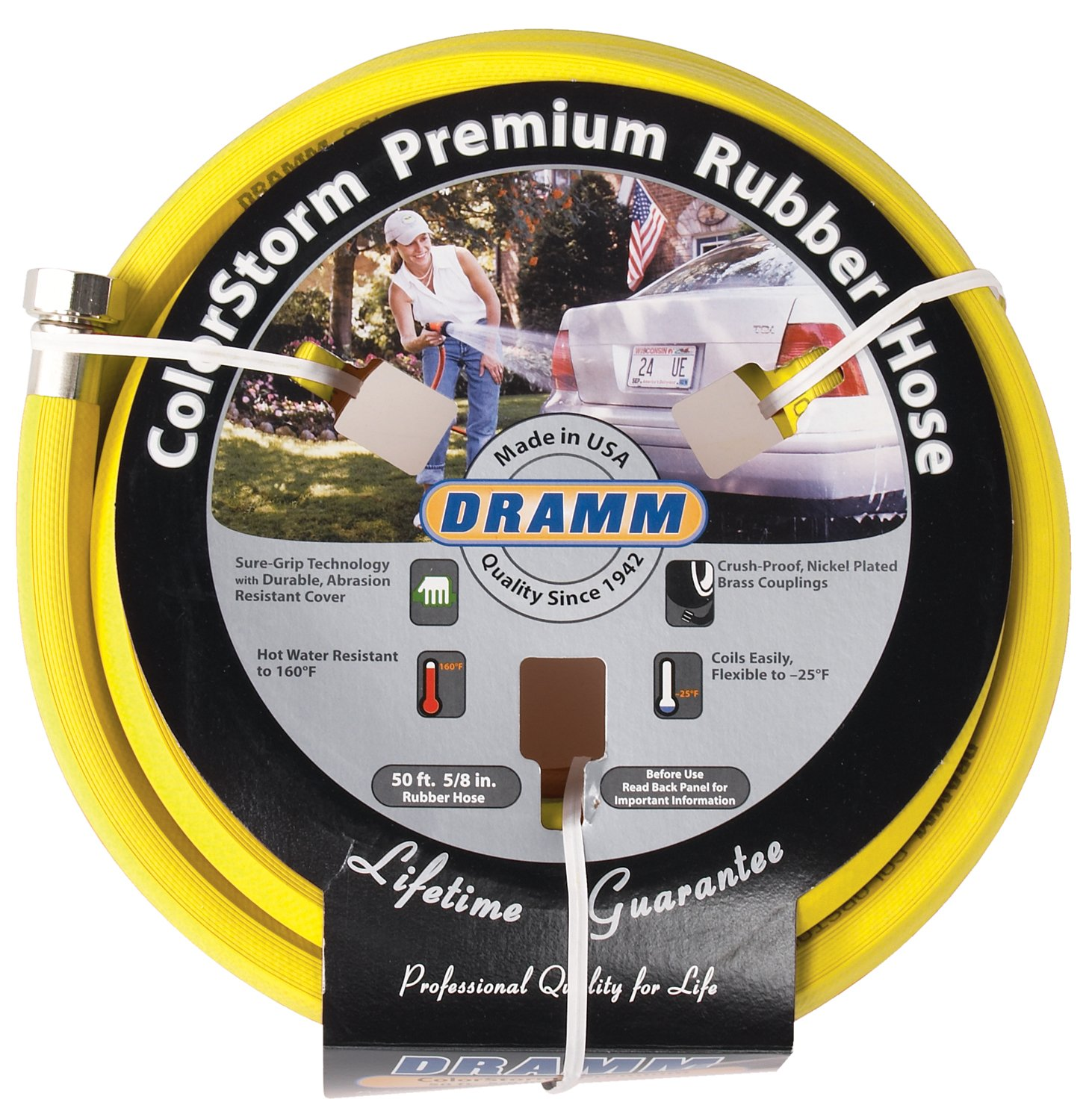 "Dramm 17003 Rubber Garden Hose, 5/8""x50', Yellow"
