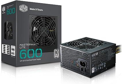 Cooler Master MasterWatt Lite 600W ATX Negro Unidad de - Fuente de alimentación (600 W, 200-240, 47-63, 3.5-5, Activo, 120 W)
