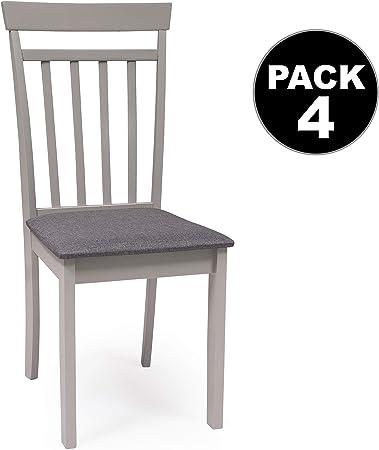 Conjunto de Comedor Kansas Gray Mesa de Comedor de Madera lacada en Gris de 112x72 cm y 4 sillas de Comedor de Madera lacadas en Gris y Asiento tapizado de Tela Gris Oscuro